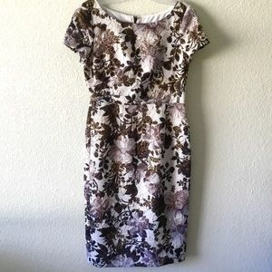 Adrianna Papell Champagne Shimmer Floral Dress